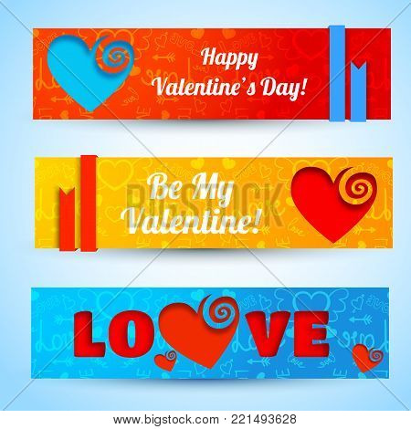 Amorous abstract horizontal banners with text cut hearts on blue red orange icons background isolated vector illustration