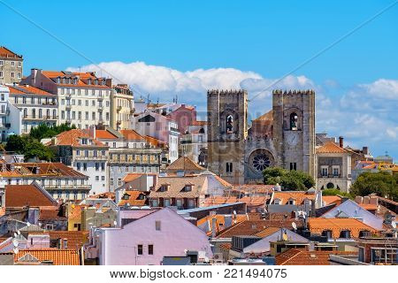 Lisbon rooftops with Se Cathedral. Portugal, Europe