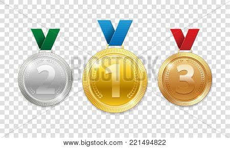 Champion Award Medals for sport winner prize. Set of realistic 3d gold, silver and bronze award trophy medals with ribbons. Vector illustration EPS 10
