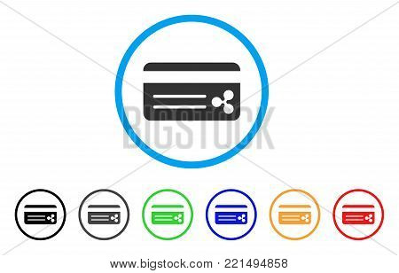 Ripple Bank Card rounded icon. Style is a flat gray symbol inside light blue circle with additional colored versions. Ripple Bank Card vector designed for web and software interfaces.