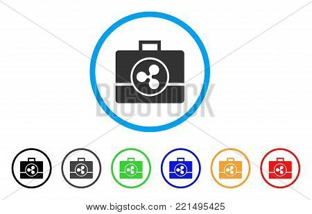 Ripple Business Case rounded icon. Style is a flat grey symbol inside light blue circle with bonus colored versions. Ripple Business Case vector designed for web and software interfaces.