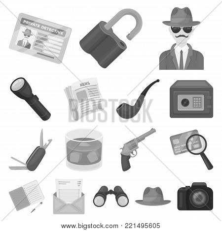 Detective and Attributes monochrome icons in set collection for design.Detective Agency vector symbol stock  illustration.