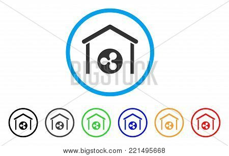 Ripple Coin Garage rounded icon. Style is a flat grey symbol inside light blue circle with bonus color variants. Ripple Coin Garage vector designed for web and software interfaces.