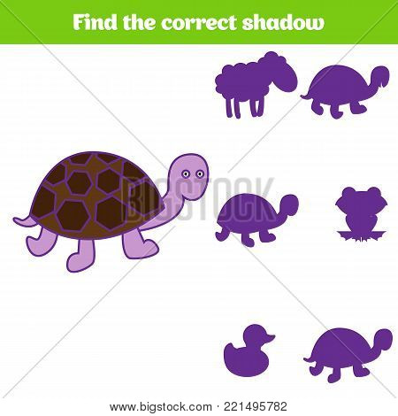 Shadow matching game for children. Find the right shadow. Activity for preschool kids. Animal pictures for kids.