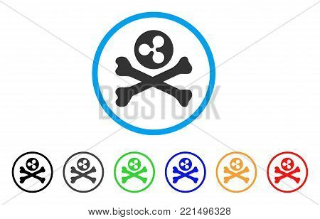 Ripple Death rounded icon. Style is a flat grey symbol inside light blue circle with additional colored versions. Ripple Death vector designed for web and software interfaces.