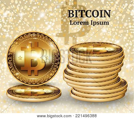 Vector realistic bitcoin cryptocurrency coins. Physical bit coin. Digital currency. Golden coin with bitcoin symbol background. Stock illustration