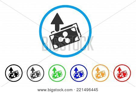 Ripple Expences Banknotes rounded icon. Style is a flat gray symbol inside light blue circle with bonus colored versions. Ripple Expences Banknotes vector designed for web and software interfaces.