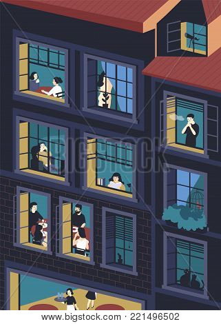 Facade of building with opened windows and people living inside. Men and women eating, smoking, reading, talking in their apartments. Concept of neighbors and neighborhood. Vector illustration