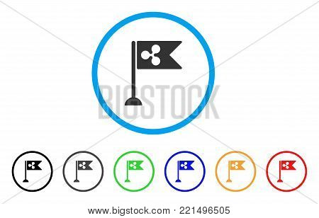Ripple Flag Marker rounded icon. Style is a flat grey symbol inside light blue circle with additional color variants. Ripple Flag Marker vector designed for web and software interfaces.