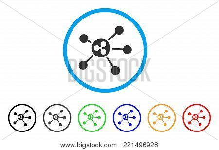 Ripple Links rounded icon. Style is a flat gray symbol inside light blue circle with additional color variants. Ripple Links vector designed for web and software interfaces.