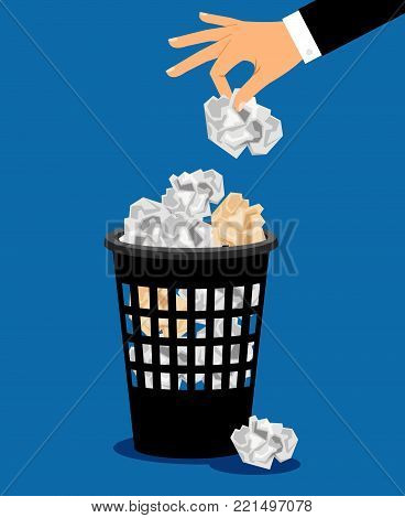 Businessman hand put paper in office trash recycle bin for garbage, vector illustration