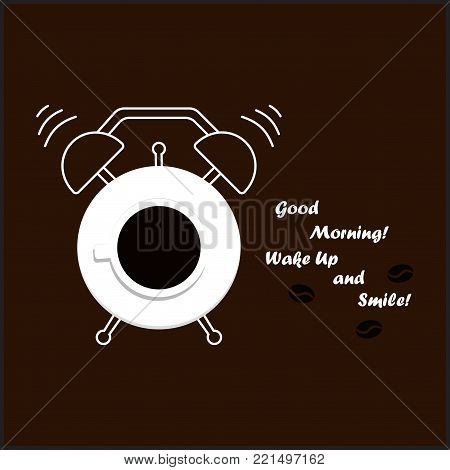 cup of coffee with hand drawn alarm clock over blackboard background, the inscription is time to wake up and coffee beans