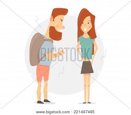 Young couple quarrel. Arguing with a woman. Male aggression.