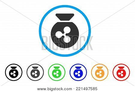 Ripple Money Bag rounded icon. Style is a flat grey symbol inside light blue circle with additional color versions. Ripple Money Bag vector designed for web and software interfaces.