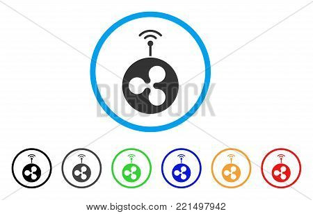 Ripple Radio Transmitter rounded icon. Style is a flat gray symbol inside light blue circle with additional colored variants. Ripple Radio Transmitter vector designed for web and software interfaces.