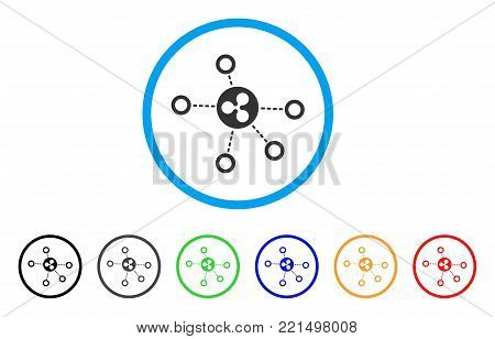 Ripple Relations rounded icon. Style is a flat grey symbol inside light blue circle with additional color versions. Ripple Relations vector designed for web and software interfaces.