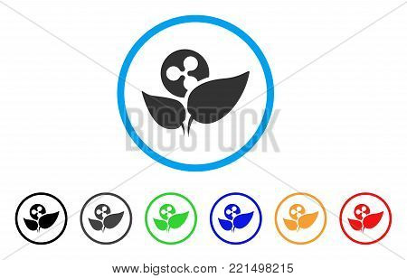 Ripple Startup Sprout rounded icon. Style is a flat grey symbol inside light blue circle with bonus colored variants. Ripple Startup Sprout vector designed for web and software interfaces.