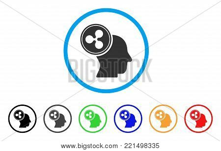 Ripple Thinking Head rounded icon. Style is a flat grey symbol inside light blue circle with additional colored variants. Ripple Thinking Head vector designed for web and software interfaces.