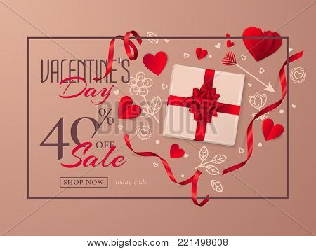 Vector holiday template of sale flyer with a gift box, a red bow, paper hearts and ribbons. Elegant brown background of banner for discount offers with symbols of Valentine's Day in the form of heart.