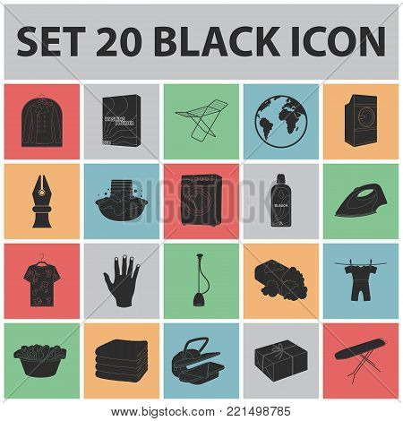 Dry cleaning equipment black icons in set collection for design. Washing and ironing clothes vector symbol stock  illustration.