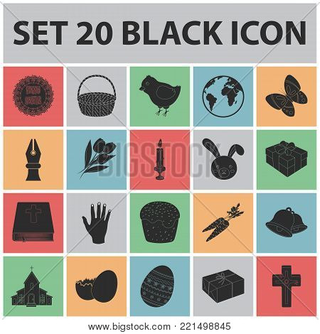 Easter is a Christian holiday black icons in set collection for design. Easter attributes vector symbol stock  illustration.