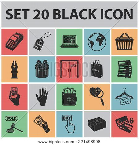 E-commerce, Purchase and sale black icons in set collection for design. Trade and finance vector symbol stock  illustration.
