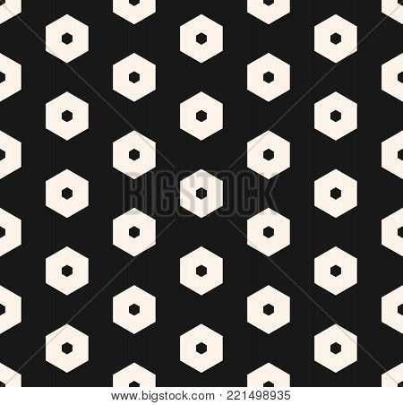 Hexagons vector pattern. Abstract geometric seamless texture with perforated hexagonal shapes. Simple geometric black & white honeycomb background. Stylish dark design for decoration, covers, textile, fabric, cloth, printing, embossing