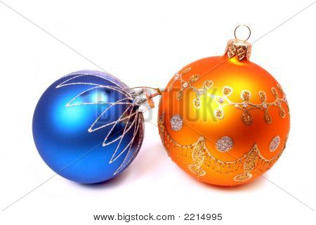 Two Celebratory Spheres Of Orange And Blue Color