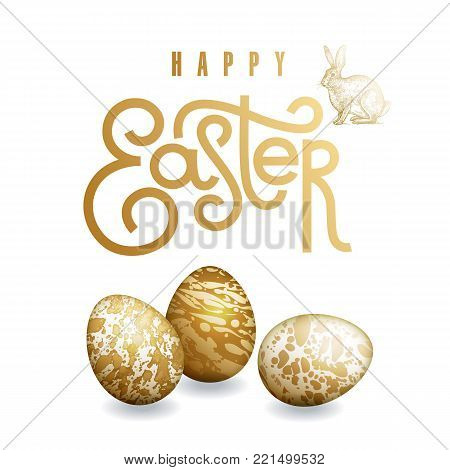 Easter card with realistic Easter eggs, easter bunny and inscription