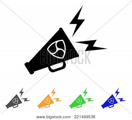 Nem Megaphone Alert icon. Vector illustration style is a flat iconic nem megaphone alert black symbol with grey, yellow, green, blue color versions. Designed for web and software interfaces.