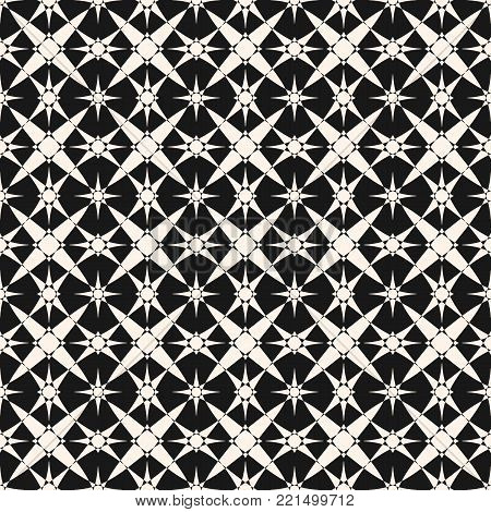 Vector ornamental geometric pattern with star shapes. Abstract geometrical black and white ornament texture. Elegant monochrome background, repeat tiles. Oriental ornament design for decoration, tiling, textile, fabric, wrapping, covers