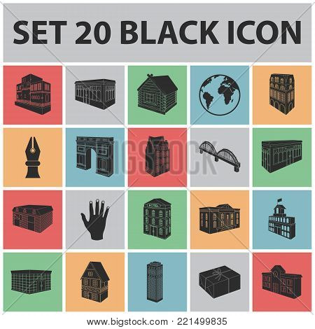 Building and architecture black icons in set collection for design.The building and dwelling vector isometric symbol stock  illustration.