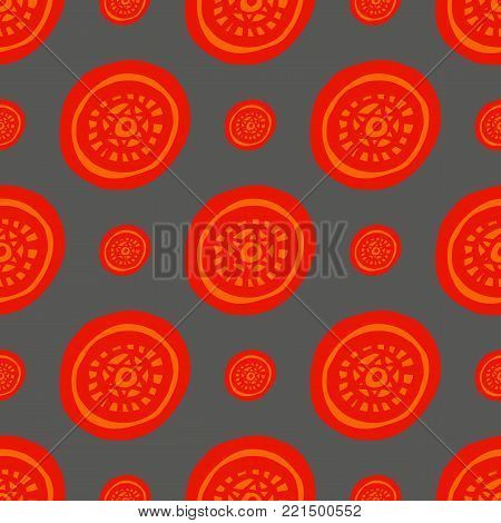 Round ornament seamless pattern, hand drawn, inc. Vector. Red, orange grey background. Seamless pattern for fabric background
