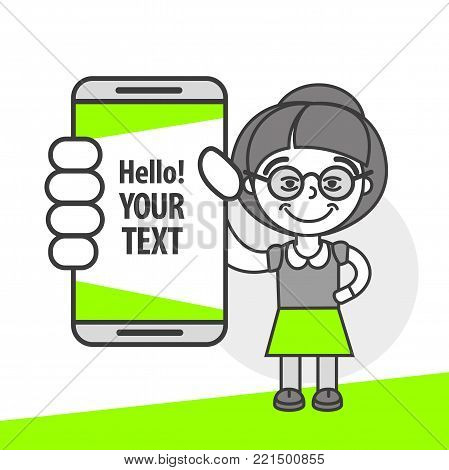 Simple flat stylistics adaptation to corporate style. Icon message grandmother shows mobile phone message positive