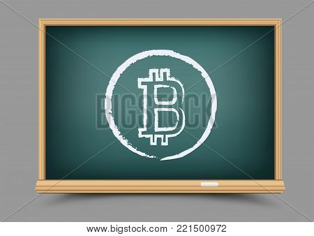 Drawing bitcoin school blackboard crypto currency lesson on gray background. Teach to mining finance. E-commerce business learning