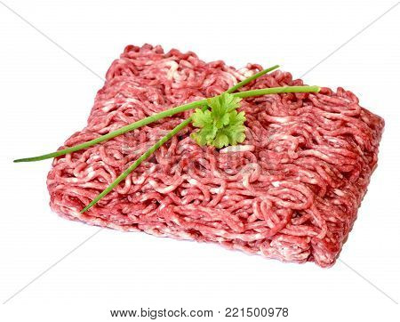 Raw minced meat or beef meat, isolated on white background. Fresh meat, cooking ingredient.