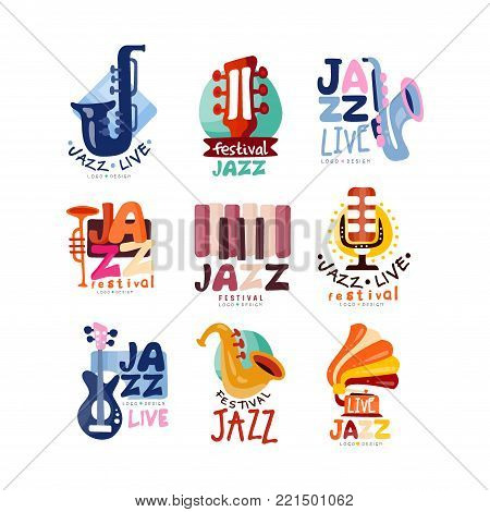 Colorful creative logos set for jazz festival or live concert. Musical event labels or emblems with guitar, saxophone, retro gramophone, trumpet. Music club emblems. Hand drawn vector collection.