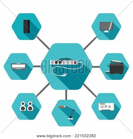 Set of hexagonal icons of power extension cord, ful tower case, monitor, scanner, printer, lamp, uninterruptible power supply, speakers on the turquoise background with long shadow.