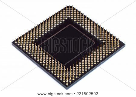 CPU Central processing unit microchip isolated on white background poster