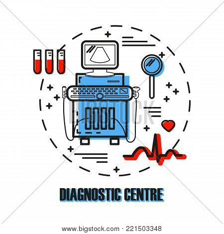 Logo for diagnostic medical centre with ultrasound machine, ecg, magnifier, blood samples made in modern line style. Medical diagnostic device for diagnostic centre. Sonography. Vector.