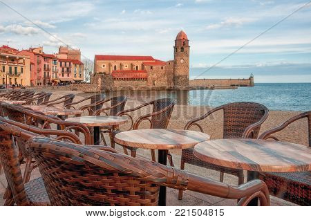 France, Collioure. Coastal Cafes With A Beautiful View Of The Sea, The Royal Palace And The Church