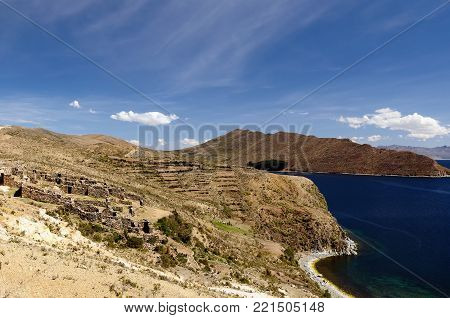 Bolivia, Titicaca lake.  Inca prehistoric ruins on the Isla del Sol