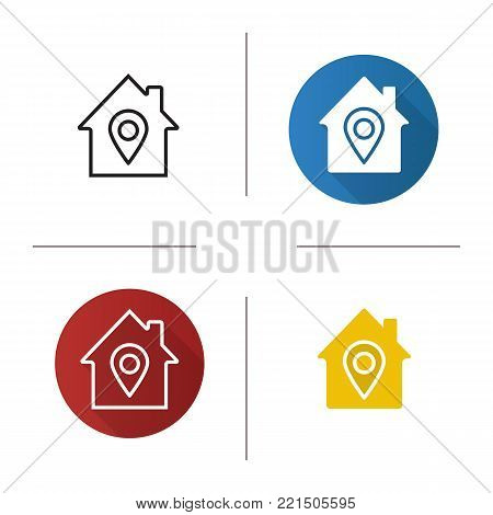 Home location icon. Flat design, linear and glyph color styles. House with map pinpoint inside. Isolated vector illustrations