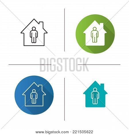 Tenant, resident, owner icon. Flat design, linear and glyph color styles. Private property. Isolated vector illustrations