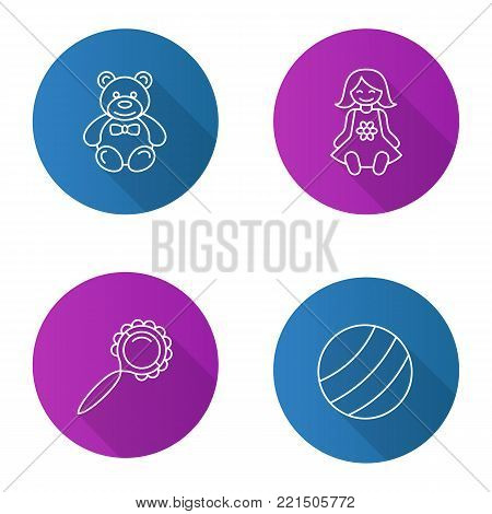 Kids toys flat linear long shadow icons set. Teddy bear, baby doll, ball, rattle. Vector outline illustration