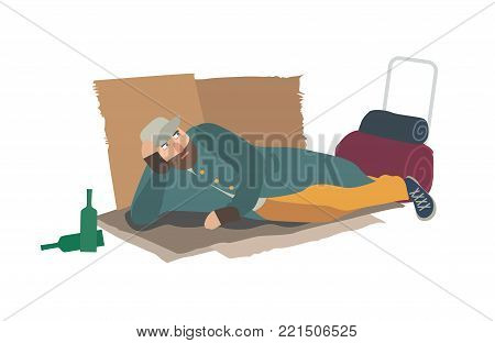Homeless man dressed in ragged clothes lying on cardboard sheets on ground. Hobo, bum, tramp or vagabond. Person in poverty. Poor male character isolated on white background. Vector illustration