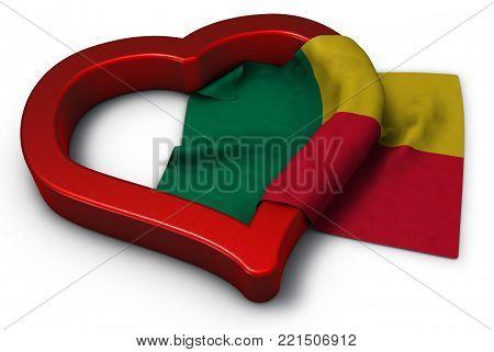 flag of benin and heart symbol - 3d rendering