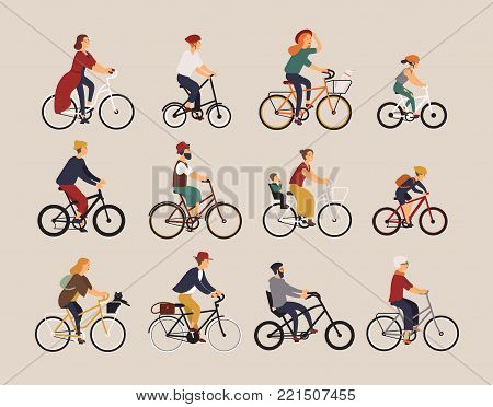 Collection of people riding bicycles of various types - city, bmx, hybrid, chopper, cruiser, single speed, fixed gear. Set of cartoon men, women and children on bikes. Colorful vector illustration