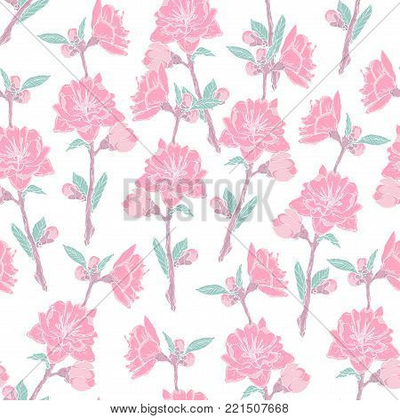 Gorgeous seamless pattern with blooming pink rose on white background. Backdrop with beautiful tender flowers. Colored vector illustration in antique style for wrapping paper, wallpaper, fabric print