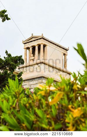 Athens, Greece - July 16, 2017: First Cemetery of Athens. Grave of Heinrich Schliemann, German businessman and archaeologist.